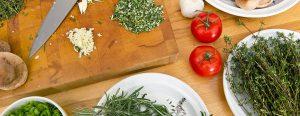cutting board and herbs